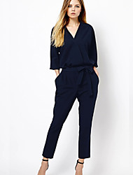 Women's Solid Blue / Black Jumpsuits , Casual V Neck Long Sleeve