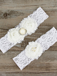 2pcs/set White Satin Lace Chiffon Beading Wedding Garter