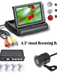 RenEPai® 4.3 Inch 4 probe Parking Sensors LCD Display Camera Video Car Reverse Backup Radar System Kit Buzzer Alarm 12V