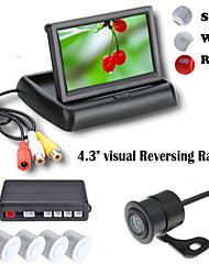 renepai® 4,3 pouces appareil d'affichage des capteurs de stationnement lcd vidéo voiture 4 de la sonde inverser radar sauvegarde kit