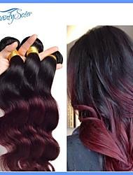 2pieces non transformés péruvien vierge vague de corps de cheveux de cheveux ombre deux color1b de cheveux de tonalité / 99j année 7a