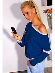 LILA  Women's Patchwork Blue / Pink Tops & Blouses , Sexy / Casual Off-the-shoulder / Round Long Sleeve