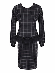 Women's Check Black Suits , Casual Round Long Sleeve