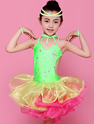 Latin Dance Outfits Children's Performance Spandex / Polyester Ruffles 4 Pieces Dress / Neckwear / WristletDress length XXS:45-50cm /