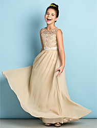 Floor-length Chiffon / Lace Junior Bridesmaid Dress - Champagne A-line Scoop