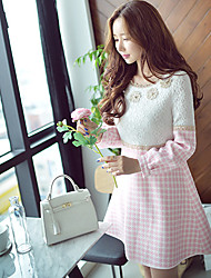 DABUWAWA Women's Patchwork Pink Dresses , Casual Lace  Party Round Long Sleeve