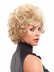capless synthétique blonds européenne côté de tissage perruque frange de cheveux milieu