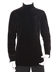 Latin Dance Tops Men's Training Velvet Draped 1 Piece Long Sleeve Top M:74 cm / L:76 cm / XL:78 cm