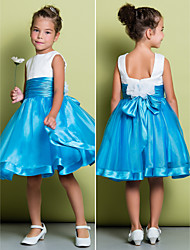 A-line Knee-length Flower Girl Dress - Organza / Satin Sleeveless Square with Ruching