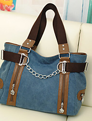 Women Canvas Tote Blue / Brown / Red