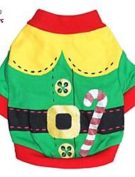 Jassen / T-shirt voor honden / katten Rood / Groen Lente/Herfst Kerstmis / Nieuwjaar XS / S / M / L Katoen