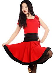 Danse latine Robes et Jupes Femme Spectacle Entraînement Chinlon Elasthanne Polyester Au drapée 1 Pièce Sans manche Robe