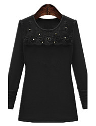 Spring Casual Plus Sizes Women's Knitted Hemp Stitching Lace Round Neck Beading Long Sleeve Shirt Tops