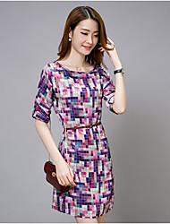 Women's Casual/Daily Dress,Print Round Neck Knee-length ½ Length Sleeve Multi-color