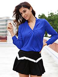 Women's Solid Blue / White T-shirt(chiffon)