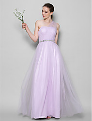 Lanting Bride® Floor-length Tulle Bridesmaid Dress - A-line One Shoulder with Crystal Detailing / Criss Cross