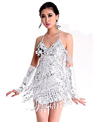 Latin Dance Dresses Women's Performance Spandex Polyester Paillettes 1 Piece Sleeveless Dress