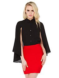 여성의 주름 잡힌 셔츠 카라 긴 소매 셔츠 쉬폰