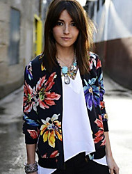 Women's National Style Slim All Match Print Multi-color Jackets , Casual / Print Round Neck Long Sleeve