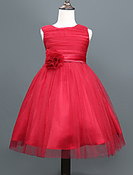 A-line Knee-length Flower Girl Dress - Cotton / Tulle / Polyester Sleeveless