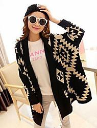 zhuan chang Women's Geometric White / Black Coats & Jackets , Casual Stand Long Sleeve