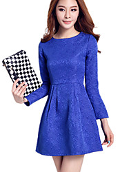 Women's Solid Color Jacquard Embossed Convex Pattern Round Neck Slim Waist Long Sleeve Dress