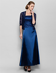 Sheath / Column Straps Ankle Length Charmeuse Mother of the Bride Dress with Lace by LAN TING BRIDE®