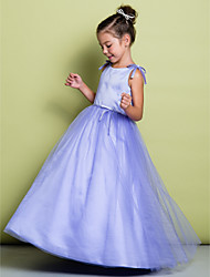 LAN TING BRIDE A-line Floor-length Flower Girl Dress - Satin Tulle Scoop with Bow(s)