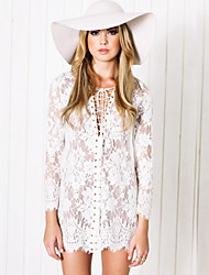Women's Lace White / Black Dress(lace)