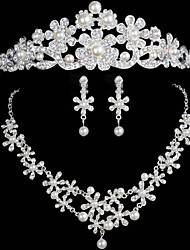 Wedding Jewelry Pearl Three-Piece Suit Crown Bridal Jewelry Set