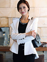 Women's Solid White / Black Blazer , Party Stand Long Sleeve