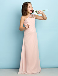 Lanting Bride Floor-length Chiffon Junior Bridesmaid Dress - Mini Me Princess One Shoulder with Crystal Detailing / Side Draping