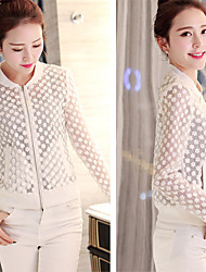 YIYI Women's Solid Color Pink / White Coats & Jackets , Sexy / Casual / Work Round Long Sleeve