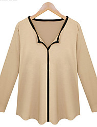 Quior Women's Solid Color White / Black / Beige Casual Shirts , Casual V-Neck Long Sleeve Plus Size