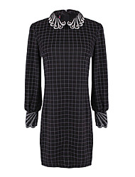 Women's Check Black Dresses , Casual Shirt Collar Long Sleeve