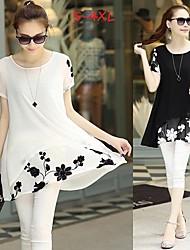 Women's Jacquard White/Black Plus Size Dresses , Casual/Work Round Short Sleeve