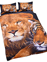 Tiger Lion 3D Duvet Cover Set Bedding Twin Full Queen King