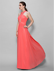 Lanting Bride® Floor-length Georgette Bridesmaid Dress - A-line V-neck with