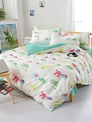Mingjie® Sweet Baby Elephant  White and Green Queen and Twin Size Sanding Bedding Sets 4pcs for Boys and Girls China