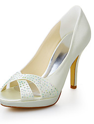 Women's Summer Heels / Peep Toe / Platform Stretch Satin Wedding / Dress Stiletto Heel Crystal Ivory
