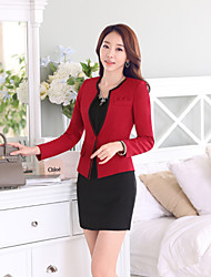 Women's Solid Red / Black Blazer , Sexy / Work Deep V Long Sleeve (Only Suit)