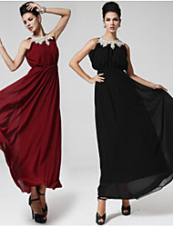 Women's Solid Color Red / Black Dresses , Vintage / Party Round Sleeveless