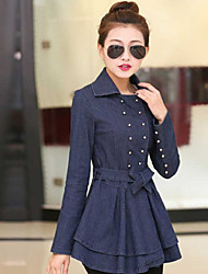 Women's Pleated Ruffled Denim Jacket