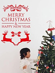 2015 New ZooYoo® Xmas20-NO Merry Christmas Happy New Year Reindeer Wall Stickers