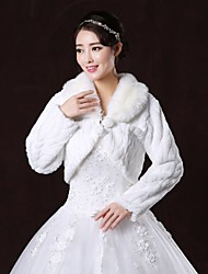 Fur Wraps / Wedding  Wraps / Fur Coats Coats/Jackets Long Sleeve Faux Fur White Wedding / Party/Evening V-neck Lace-up