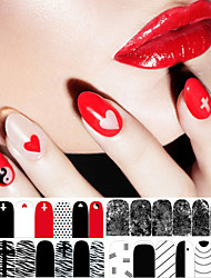 1 PCS  Red Black And White Classic Series  Nail Polish Sticker Decals