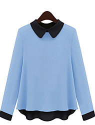 Women's Solid Blue / Beige Blouse , Shirt Collar Long Sleeve