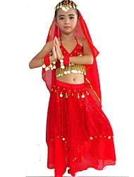 Roupa (Fúcsia / Vermelho / Amarelo / Azul Lago , Elastano / Poliéster , Dança do Ventre) - de Dança do Ventre - Crianças