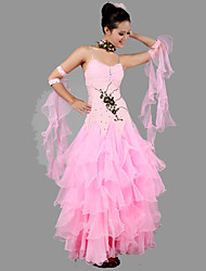 Ballroom Dance Outfits Women's Performance Spandex / Crepe Appliques / Crystals/Rhinestones / Ruched 5 Pieces Pink
