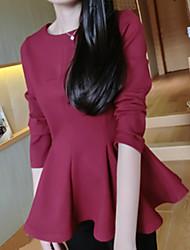 Damen Solide Einfach Formal T-shirt,Rundhalsausschnitt Herbst Langarm Blau / Rosa / Rot / Schwarz Polyester Mittel